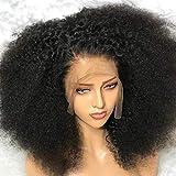 Kinky Bouclés Perruque Naturelle Avant de Lacet Mongole Afro Perruques de Cheveux Humains Pour Les Femmes Noires Yaky Droite VIPbeauty Cheveux De Bébé 150 Densité Remy Perruques(10 Inch)