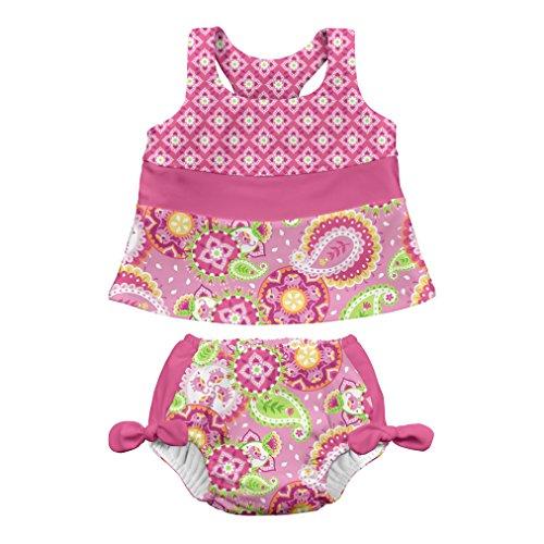 i play. by green sprouts Zweiteiliger Tankini mit Druckknopf, Wiederverwendbare Schwimmwindel   Baby Mädchen Badeanzug   leicht, patentiertes Design - Pink - 18 Monate