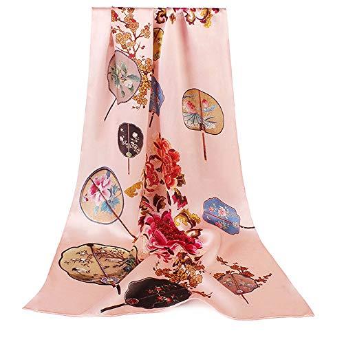 yuyu19 Seidenschal Damen Frühling Und Herbst Dünnes Seidenseide Koreanische Version des Wilden Cheongsam Seidentuches, Fächerblume