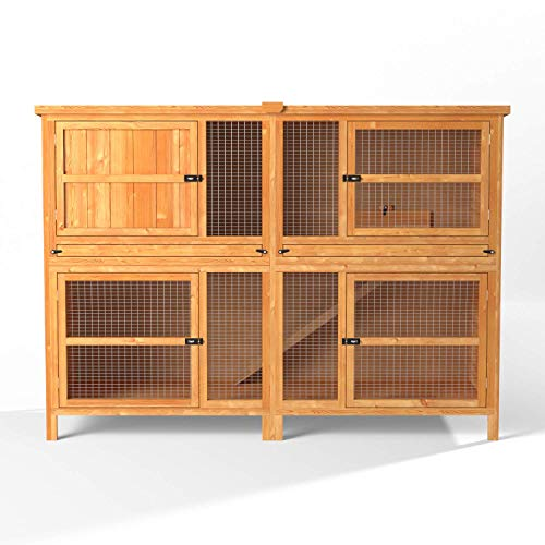 6ft Chartwell Double Luxury Guinea Pig Rabbit Hutch | Perfect Outdoor & Indoor Rabbit Hutch for 2 Rabbits Or Guinea Pigs | The Biggest Hutch On Amazon