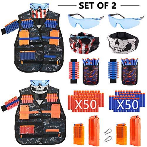 AILUKI 2 Sätze Kinder Taktische Weste Jacke Kit Set für Nerf Gun N-Streik Elite-Serie mit 100 Darts Nachfüllpack,2 Maske,2 Brille,2 Handgelenk Bandolier,4 Schnellwechselclips,2 Armbände.
