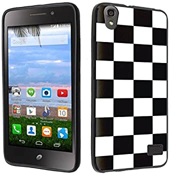 Case - [Checker] Black  PaletteShield TM  Flexible TPU Gel Skin Cell Phone Cover Soft Slim Guard Protective Shell  Compatible for Huawei Pronto LTE H891L