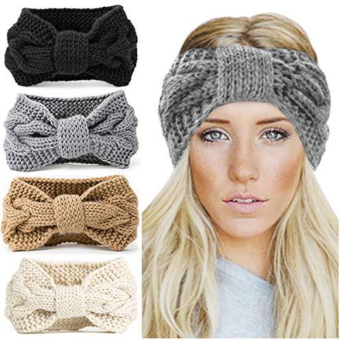 KQueenStar Damen Gestrickt Stirnband -4 Stück Häkelarbeit Schleife Headwrap Design Stirnband Winter Kopfband Haarband Headwrap Ohr Wärmer, Style A, M