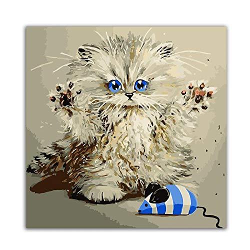 MalenNachZahlen DIY Handgemalt Ölgemälde Erwachsene Anfänger Kreatives Gemälde Auf Leinwand Malen Nach Zahlen Kits Home Haus Dekor Süße Kätzchen (Ohne Rahmen)