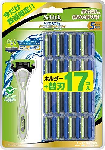 大容量 シック Schick ハイドロ5 プレミアム 敏感肌用 バリューパック (ホルダー (刃付き) + 替刃16コ) 5枚刃 カミソリ 髭剃り スキンガード付