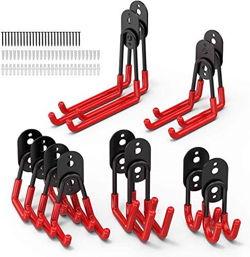 POVO Lot de 12 crochets de garage utilitaires doubles en acier robuste pour ranger les outils électriques, les échelles, les articles en vrac, les vélos, les cordes, etc.