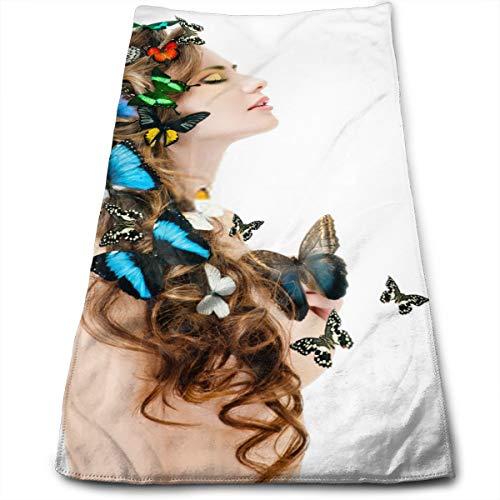 YudoHong Hermosa Mujer Joven con Mariposas de Secado rápido, Altamente Absorbente, Toallas de Mano Suaves, Uso Diario