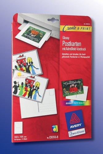 AVERY Zweckform, C9355-8, 8 Blatt, Karten, Glossy-Postkarten mit Adressfeld-Vordruck (Vorderseite Glossy, Rückseite matt), 148 x 105mm