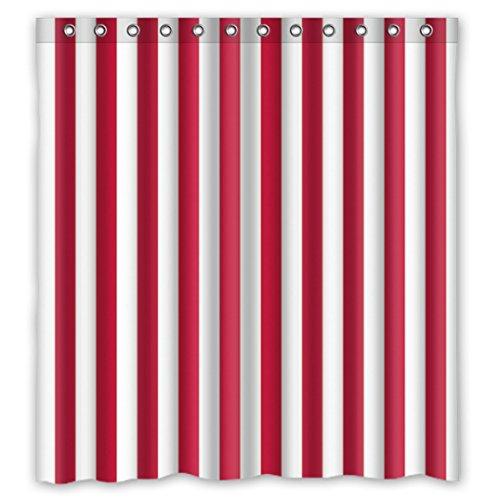 DOUBEE Badezimmer Weiß & Rot Gestreifte Regenbogen Wasserdichtes Duschvorhang Shower Curtain 66