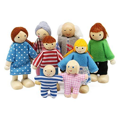 Wagoog Ensemble de Famille de poupées de Maison de poupées - en Bois 8 Mini Figurines de Personnages poupées pour Accessoires de Maison de poupée Filles Enfants