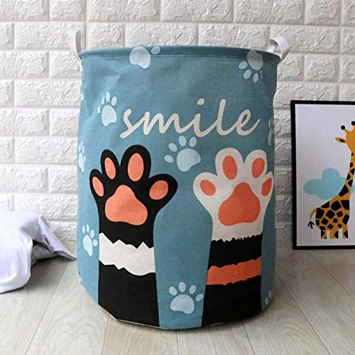 Cartoon Storage Bag Dirty Clothes Toy Laundry Basket Organizer Foldable Baskets with Handle, Black Cat Face