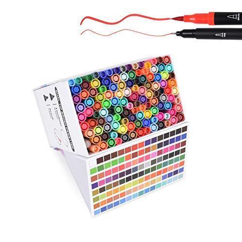 120色デュアルチップブラシマーカーペン、0.4極細マーカーペン、水彩ブラシハイライトペンセット、スケッチブック、塗り絵、ノート、書き込み、計画、アートプロジェクト用。