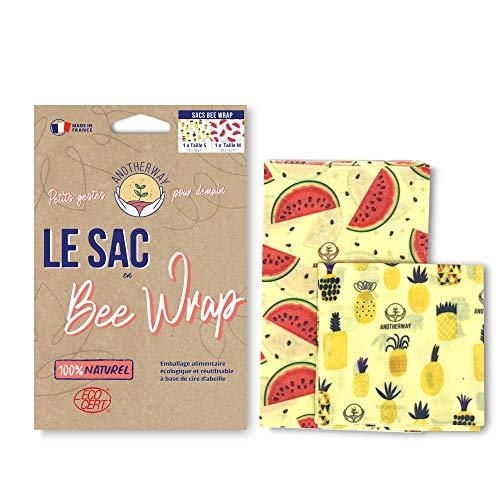 Anotherway Bee Wrap - Bolsa para alimentos reutilizable, de cera de abeja, lote de 2: 1 pequeño y 1 mediano, fabricado en Francia, regalo ecológico y cero.