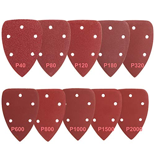 AMIGOB Papel de Lija Triangulares 100 PCS 140 * 90mm Discos de Lijar 10 x Grano 40/80/120/180/320/600/800/1000/1500/2000 de 5 Orificios
