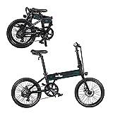 Bicicleta eléctrica de 20 pulgadas, plegable, 36 V, 250 W, pantalla LCD de 10,4 Ah, máx. 30 km/h, 3 marchas, aleación de aluminio, 18 kg, luces traseras de bicicleta de montaña (negro)