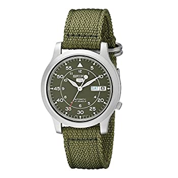 SEIKO Men s SNK805 SEIKO 5 Automatic Stainless Steel Watch with Green Canvas