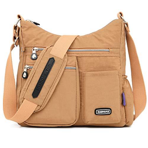 STUOYE Crossbody Bag for Women Multi Pocket Shoulder Bag Nylon Lightweight Messenger Bags Travel Purses and Handbags (1312 Camel)