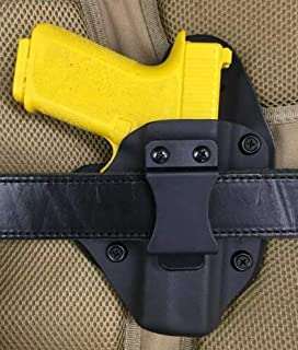 Polymer80 PF940C (fits Glock 19 23 Slide) IWB Holster, Black Kydex with Bridle Leather Backer, Inside The Waistband Concealed Carry Holster, Polymer 80 Right Handed Holster