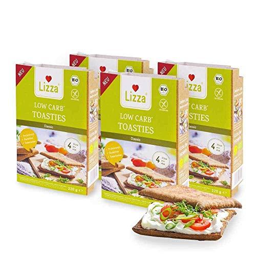 Lizza Low Carb Toasties Classic | 94% weniger Kohlenhydrate | Bio. Glutenfrei. Vegan | Protein- & Ballaststoffreich | Keto | Zuckerarm | Ohne Konservierungsstoffe | 16 Toasties (Vorrat für 2 Wochen)