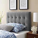 Modway Lily Biscuit Tufted Twin Performance Velvet Headboard, Gray