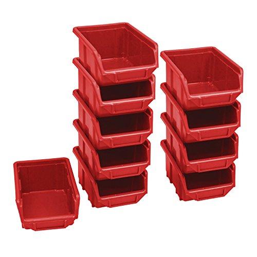 10 Stück Stapelboxen Sichtlagerkästen Kunststoff Plast 110x165x75 Gr. 1 rot