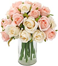 CEWOR 2 Packs Artificial Rose Flowers Bouquet 24 Heads Silk Flowers Rose for Home Bridal Wedding Party Festival Decor (Champagne and Pink)