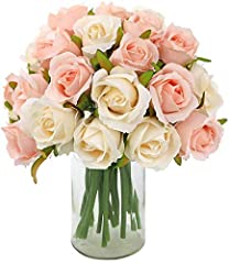 "Package includes: 2 bouquets of 12 Champagne-colored Artificial roses. The total length is about 25cm/9.84"" and the bouquet diameter is about 18cm/7.08"". Material: The flowers and leaves are made of high-grade silk. The flower stem is wrapped in plas..."