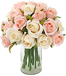 top rated CEWOR 2 Head 24 Pack 2 Pack Artificial Rose Bouquet Silk Flower is a rose for a wedding at home … 2021