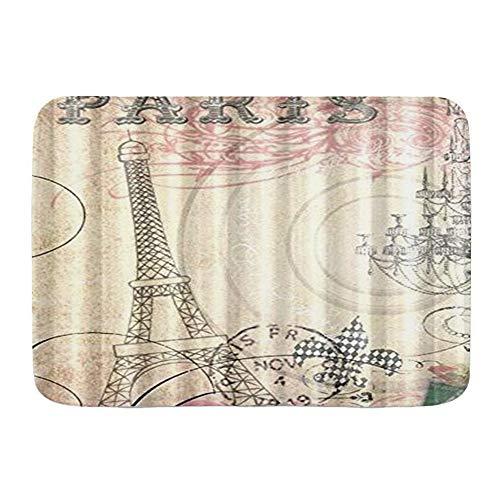 CONICIXI Alfombra de Baño Vintage Paris Eiffel Tower El Mejor Disfrute Visual para ti Antideslizante Polyester Súper Suave Absorbente Tapete de Piso para Ducha,Cocina,Baño