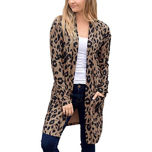 iHENGH Damen Herbst Winter Bequem Mantel Lässig Mode Jacke Frauen Langarm Leopardenmuster Tasche Mode Mantel Bluse T-Shirt Strickjacke...