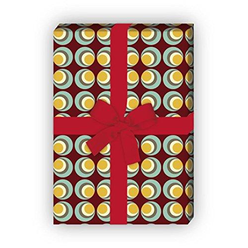 Herren 70er Jahre Geschenkpapier Set (4 Bogen), Dekorpapier mit Retro Kreis Muster für ihn für tolle Geschenk-Verpackung zur Taufe, Geburt, Geburtstag, Hochzeit, Weihnachten 32 x 48cm auf braun