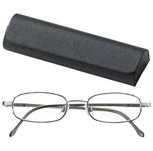 ライブラリーコンパクト 高級感ある デミ塗装 シニアグラス 老眼鏡 バネ丁番 男性 紳士 +1.00 (専用ケース付)