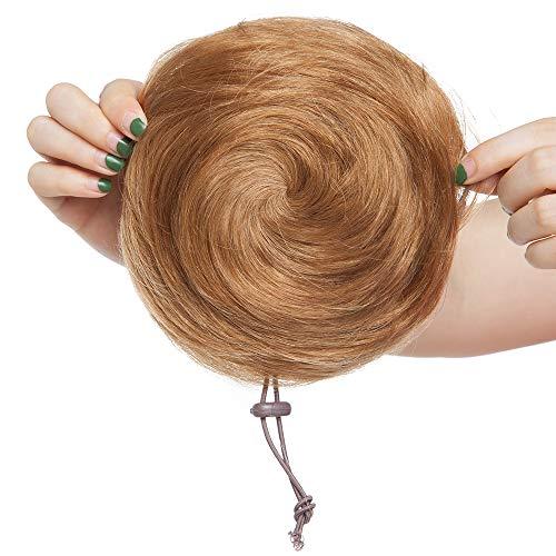 Chignon Postiche Extension de Cheveux a Clip Naturel Scrunchie Updos Chouchou Ponytail Queue de Cheval Rajout a Froid Volumateur Messy Hairpiece - Raide 06#Noisette