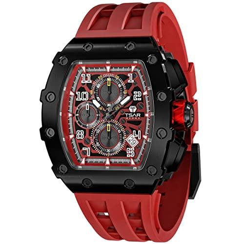 Uhren Herren TSAR BOMBA Luxus Armbanduhr Herren Chronograph 50M Wasserdicht Saphirglas Japan Quarzwerk TMI VK67 Silikonband Klassisches Tonneau Design Leuchtendes Kalender Männer Uhr
