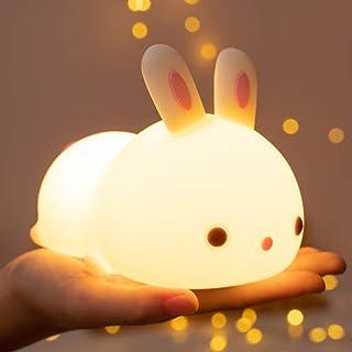 Cute Bunny Kids Night Light,Baby Birthday Gifts Mom Women Teenage Girls Nursery Squishy Night Lamp Toddler - Portable Sili...
