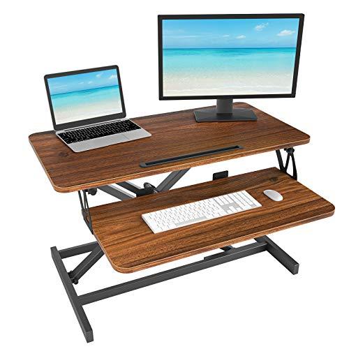 Adjustable Height Standing Desk Converter– 32 inches Stand up Desk, Ergonomic Tabletop Workstation, Easily Sit to Stand Desk Espresso