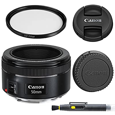Canon EF 50mm f/1.8 STM: Lens with Glass UV Filter, Front and Rear Lens Caps, and Deluxe Cleaning Pen, Lens Accessory Bundle50 mm f1.8- International Version by AOM