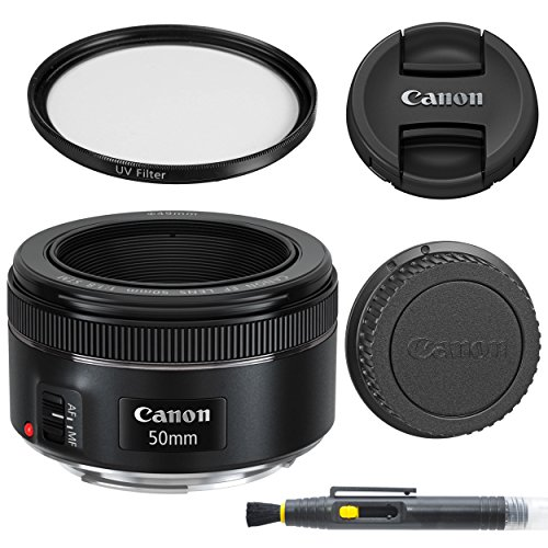 Amazon.com  | Canon EF 50mm f/1.8 STM: Lens with Glass UV Filter, Front and Rear Lens Caps, and Deluxe Cleaning Pen, Lens Accessory Bundle50 mm f1.8