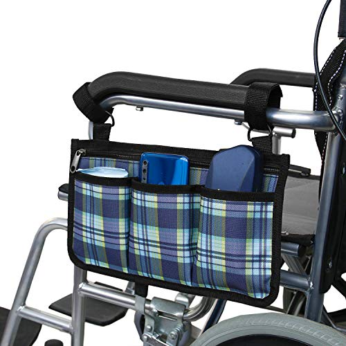 POSEAGLE Wheelchair Side Bag - Armrest Pouch - Wheelchair Side Organizer for Home/Outdoor/Baby Walkers,Rollators,Scooters,Wheelchairs (Blue Plaid)