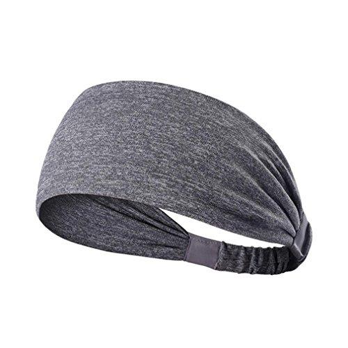HCFKJ Breites Sport-Stirnband Stretch Elastic Yoga Running Headwrap Haarband (GRAU)