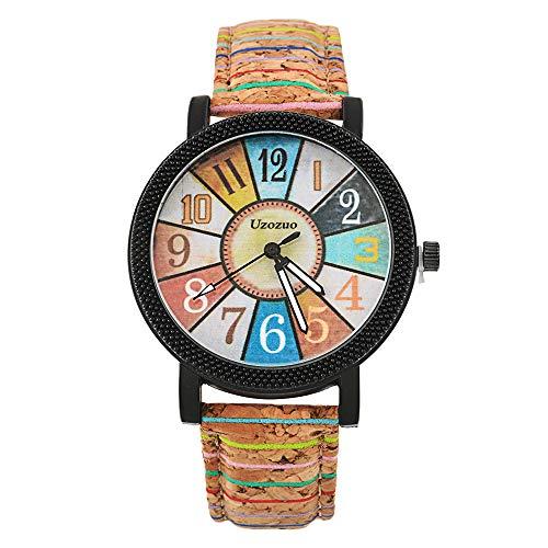 Souarts Unisex Round Rhinestone Big Dial Roman Numeral Analog Quartz Wrist Watch (Vintage Pattern Wrist Watch)