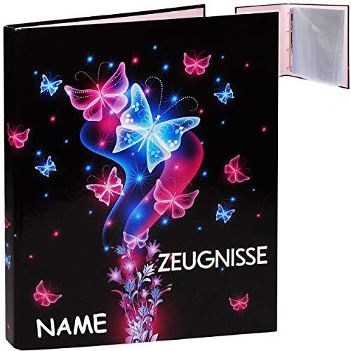 alles-meine.de GmbH Zeugnismappe / Ringbuch / Zeugnisringbuch - Zeugnisse _ Schmetterlinge & Blumen - inkl. Name - Erweiterbar für Einsteckseiten + Einlagen - A 4 - Dokumentenmap..