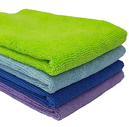 Sobby Ultra Premium Super Absorbent Extra Thick Multipurpose Microfiber Cloth for Car Cleaning, Kitchen, Bike, laptop, LED TV, Mirrors, Office, Hotels, Bathrooms, Furniture and many more. Microfiber cloths (Set of 4 - Multicolor - 40 x 40 CM)