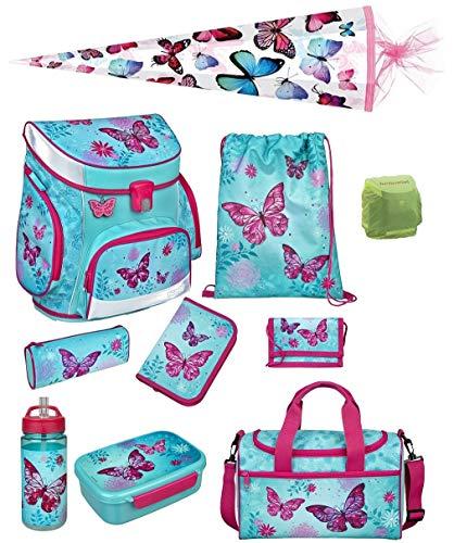 Scooli Butterfly Mädchen Schulranzen-Set 10tlg. Campus Fit Pro mit Dose/Flasche Sporttasche und Schultüte 85cm Schmetterling und Blumen türkis