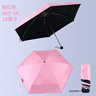 New Portable Men S Umbrella Mini Pocket Umbrellas Prevent Uv Rainproof Folding Ladies Small Five Fold Sun Umbrella Free Sale Hyococ (Color : Pink)