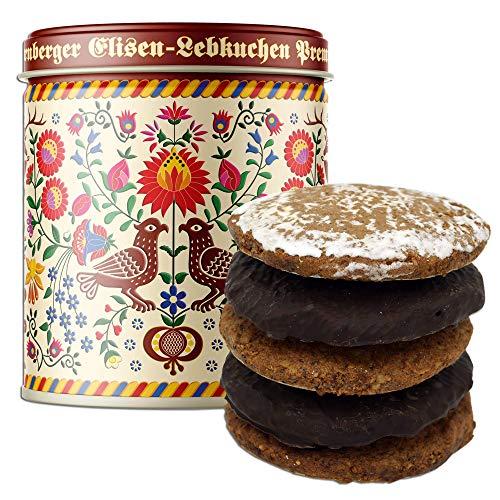 Lebkuchen - original Nürnberger Mandel Elisen-Lebkuchen - 45% Nussanteil - handgefertigte Qualität - prämierte Meisterhändler-Manufaktur (Dose Stickmuster - Inhalt: Lebkuchen gemischt - 380 Gramm)