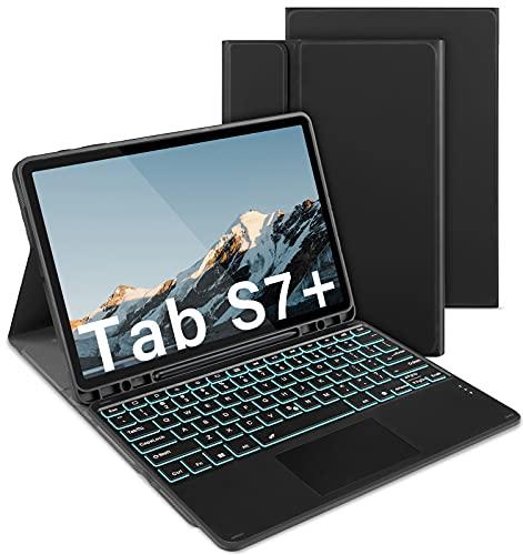 Jelly Comb Beleuchtete Tastatur Hülle mit Touchpad für Samsung Galaxy Tab S7+, Abnehmbare Bluetooth QWERTZ Tastatur Touch für Samsung Tab S7 Plus 12,4 Zoll 2020 (SM-T970/T975/T976), Schwarz