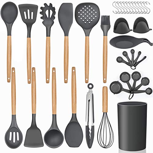 LIANYU 38 Pcs Kitchen Cooking Utensils Set with Holder, Heat Resistant Silicone Kitchen Utensil Spatula Set, Kitchen Gadgets Tools Set for nonstick Cookware Set, Wooden Handle, Grey