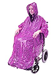 Ideal for wheelchair users who require a high degree of independence Weather protection from unexpected showers for you and your wheelchair Universal sizing with zip closure and drawstring hood for a snug fit Stay dry with 100% Waterproof fabric Mach...