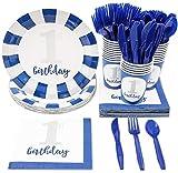 Juvale Einweggeschirr Party-Set für den 1. Geburtstag Set für 24 Personen umfasst Plastikmesser,...